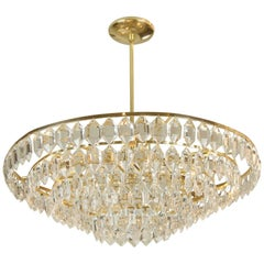 Large Palwa Brass and Crystal Chandelier