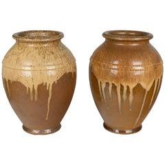 Pair of French Glazed Terracotta Pottery Vases