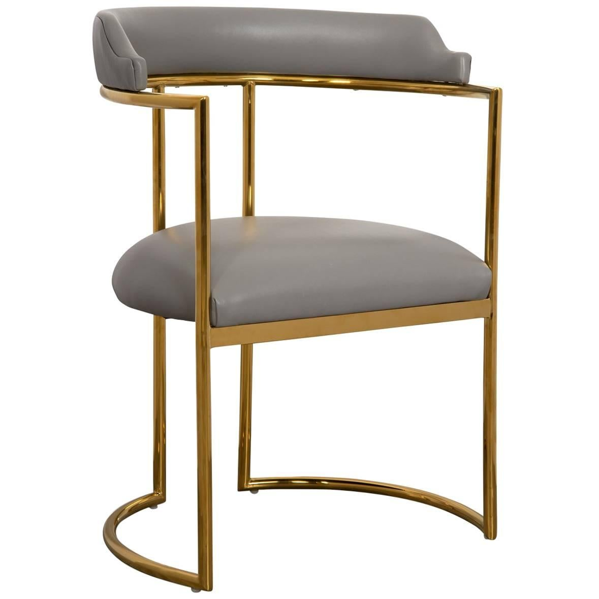 Exceptionnel Modern Curved Dining Chair In Grey Leather With Brass Frame Acapulco 2 For  Sale