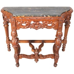 Baroque Figural Maritime Carved Walnut Marble Top Console Table, 20th Century