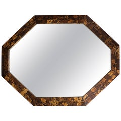 Mid-Century Modern Octagonal Wall Mirror with Tessellated Surface