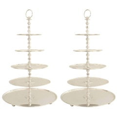 English Georgian Style '20th Century' Silver Plate Five-Tier Cake Epergne, Pair