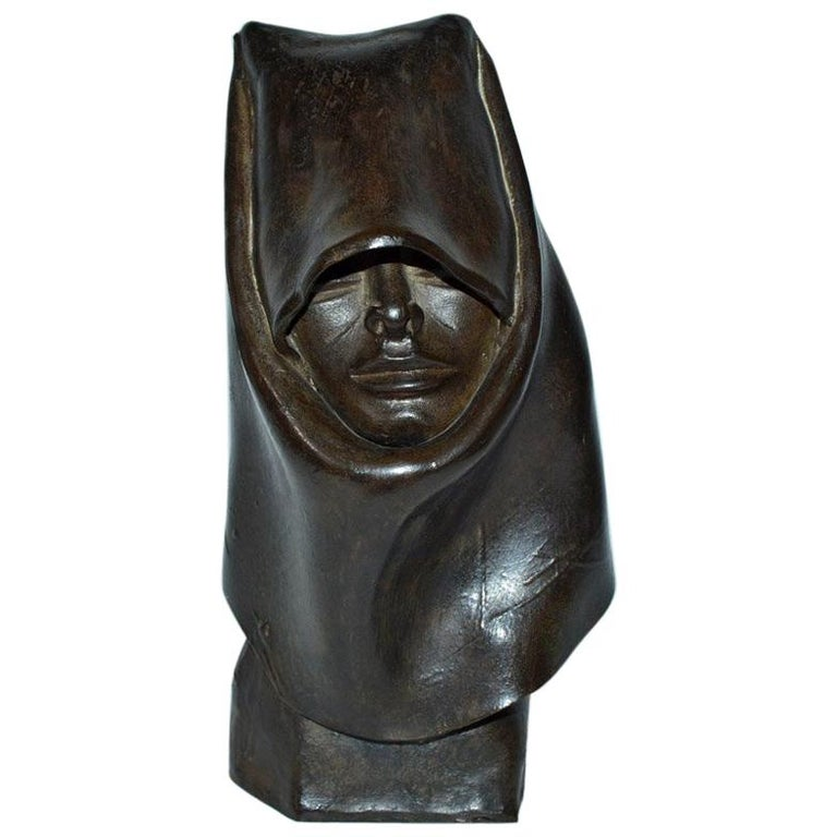 Contemporary Clay Hooded Female Head Sculpture For Sale