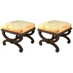 Victorian Painted Wood Stools in Gray with Asian Style Textile Upholstery