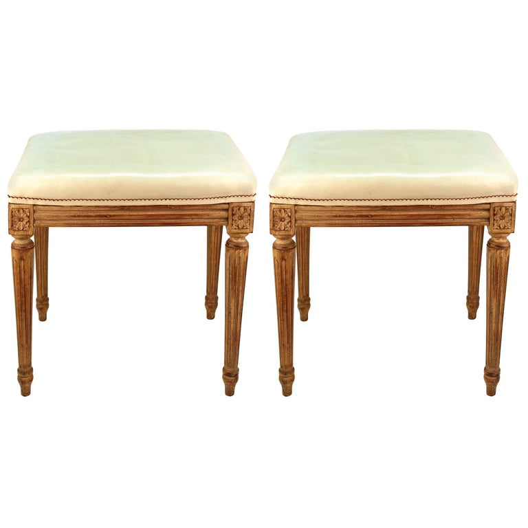 Louis XVI Style Stools with Faux Leather Seats