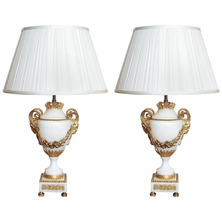 Pair of 19th Century French Carrara Marble and Gilt Bronze Urn Lamps