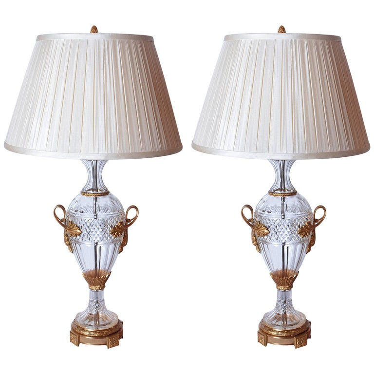 Pair of Late 19th Century Cut Crystal and Gilt Bronze Urns Made into Lamps For Sale
