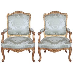 Pair of Fine 19th Century French Regence Gilt Fauteuils