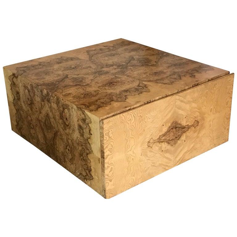 Milo Baughman Burl Wood Cube Coffee Table with Storage