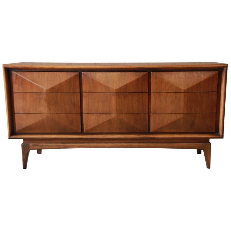 Walnut Diamond Front Long Dresser or Credenza by United