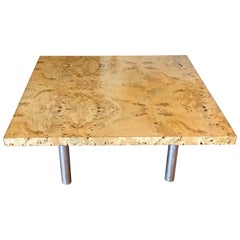 Milo Baughman Bird's-Eye Maple Coffee Table