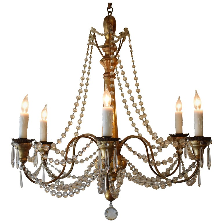 19th Century Italian Wood and Crystal Chandelier