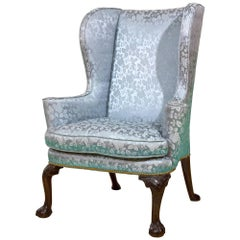 Queen Anne / George II Walnut Wing Chair with Carved Knees, Claw & Ball Feet