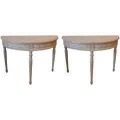 Pair of 19th Century Swedish Demilune Tables
