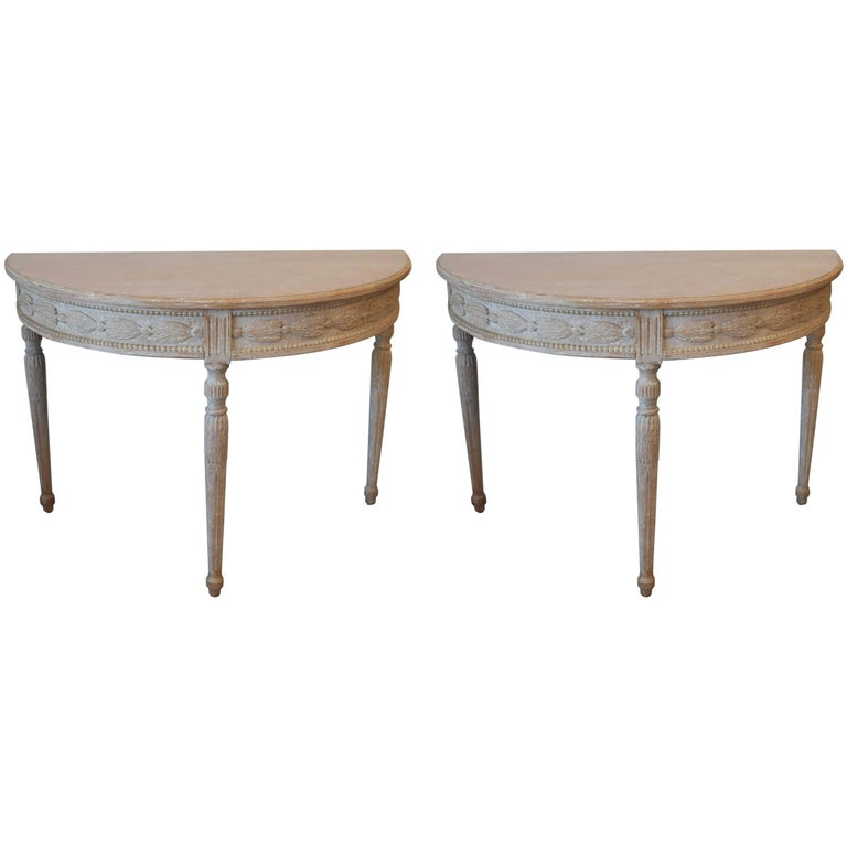 Pair of 19th Century Swedish Demilune Tables For Sale