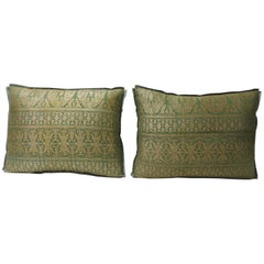 Pair of Antique Green and Gold Embroidery Indian Sari Throw Pillows