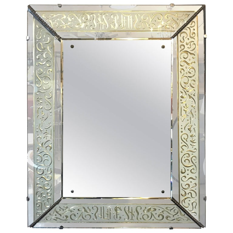 Hollywood Regency Etched Frosted Glass Framed Bevelled Wall or Console Mirror