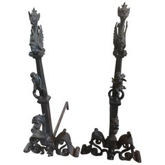Gothic Style Bronze-Mounted Andirons