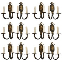 Rare Set of 12 French 1940s Brass Sconces