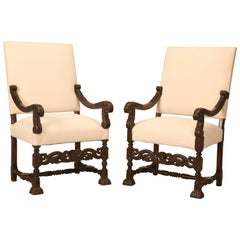 Antique French Carved Pair of French Walnut Throne or Armchairs