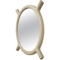 OX Round Wall Mirror in Rift White Oak