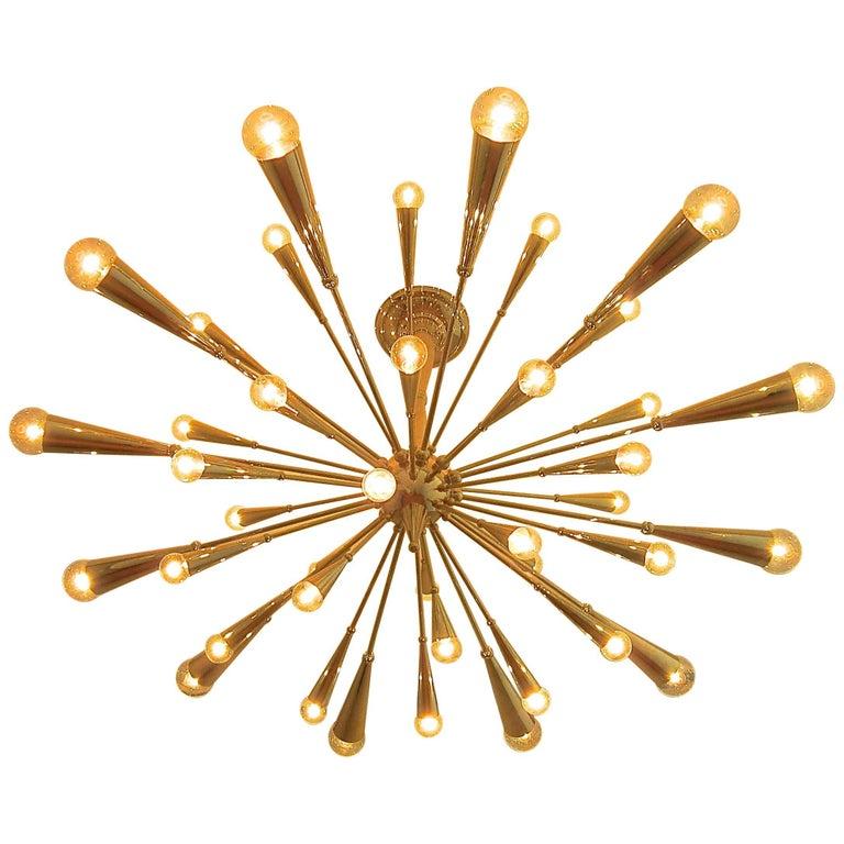 24-Karat Gold Monumental Sputnik Chandelier For Sale