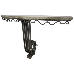 Important French Art Deco Hand Hammered Iron Console Attributed to Raymond Subes