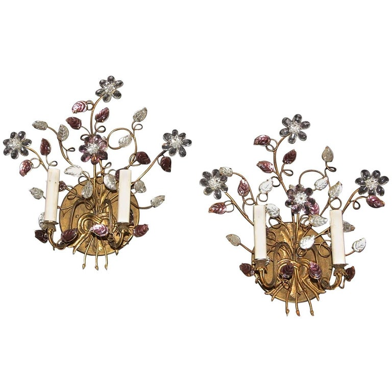 Pair of Baguès Style Floral Gilt Wall Sconces
