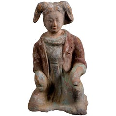 Expressive Court Lady in Orange Terracotta - Wei Dynasty, China '386-557 AD'