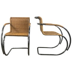 Pair of Mies van der Rohe Wicker and Chrome MR20 Armchairs, Bauhaus