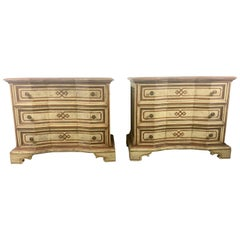 Pair of Italian Hollywood Regency Painted Three-Drawer Stands, Commodes