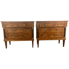 Stunning Pair of French Directoire Style Commodes in Rosewood