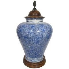 Ralph Lauren Blue and White Lidded Urn