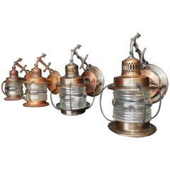 Adorable Set of Four 1930s Marine Outdoor Sconces