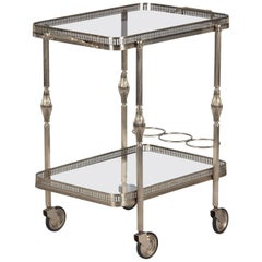 French Silver Metal Bar Cart by Maison Bagues, 1950s