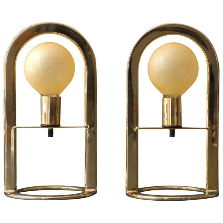 Pair of Large Golden Postmodern 1980s Metal Table Lamps