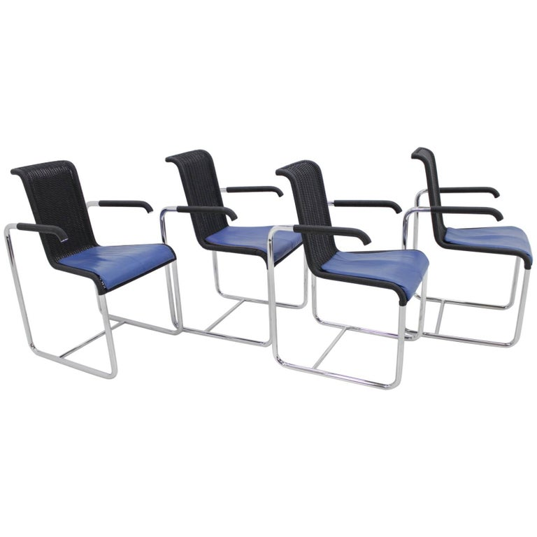 Set of Four Midcentury Chairs Tecta Designed by Jean Prouvé, 1980s