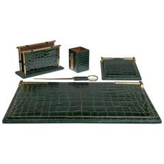 Pineider Green Crocodile Five-Piece Desk Set