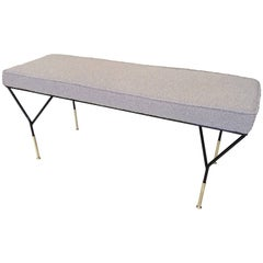 1960s Design Bench in Bouclette Fabric