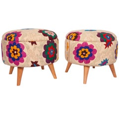 Ottomans / Poufs Upholstered with a Vintage Suzani