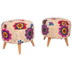 Ottomans / Poufs Upholstered with Vintage Uzbek Suzani