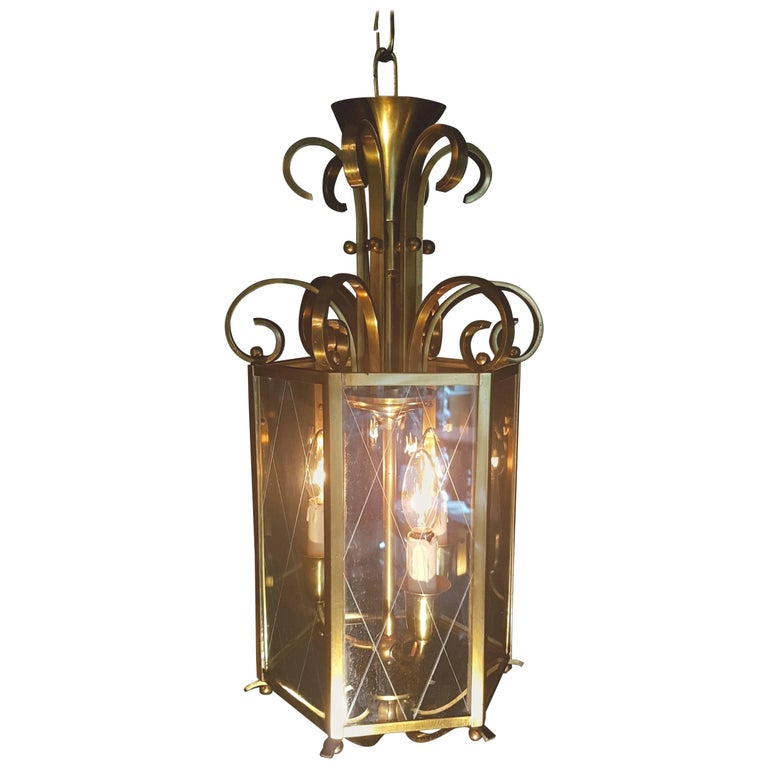 20th Century Brass and Glass Hexagonal Lantern