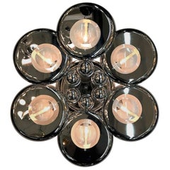 Italian 1970s Sculptural Chrome and Glass Lens Sconce