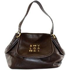 Ladies Bulgari Brown Calf Skin Leather Quilted Sides Handbag
