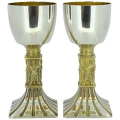 Pair of Limited Edition Sterling Silver Goblets by Hector Miller, London, 1980
