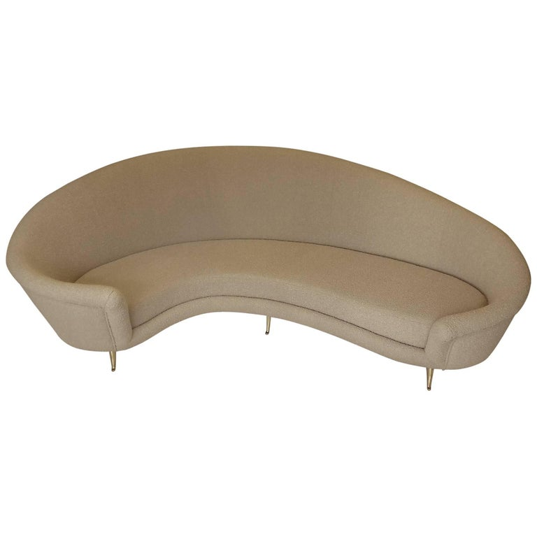 Curved Canape In The Taste Of Ico Parisi, Beige Bouclette Fabric