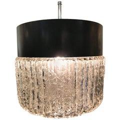Stilnovo 1950s Black Enamel and Glass Pendant Light