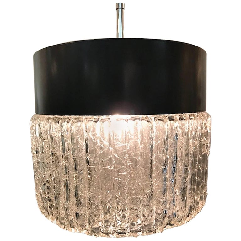 Stilnovo 1950s Black Enamel and Glass Pendant Light
