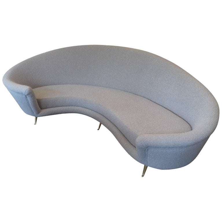 Curved Canape in the Taste of Ico Parisi, Grey Bouclette Fabric
