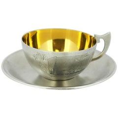 Antique Russian Silver and Niello Tea Cup and Plate, circa 1954